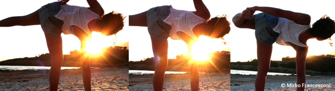 ardha chandrasana at sunset_sardegna_copyright